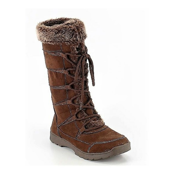 "Route 66 Shoes - ""Tamber"" Tall Brown Lace-up Boots with Fur Trim"